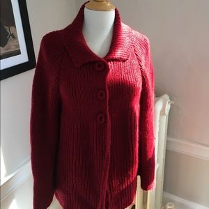 HANDKNIT thick chunky red cardigan